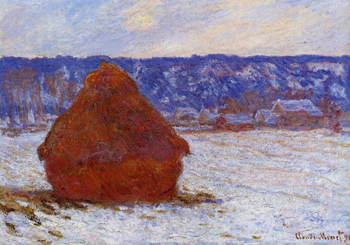 Paintings Reproductions Monet, Claude Oscar Grainstack in Overcast Weather, Snow Effect , 1890
