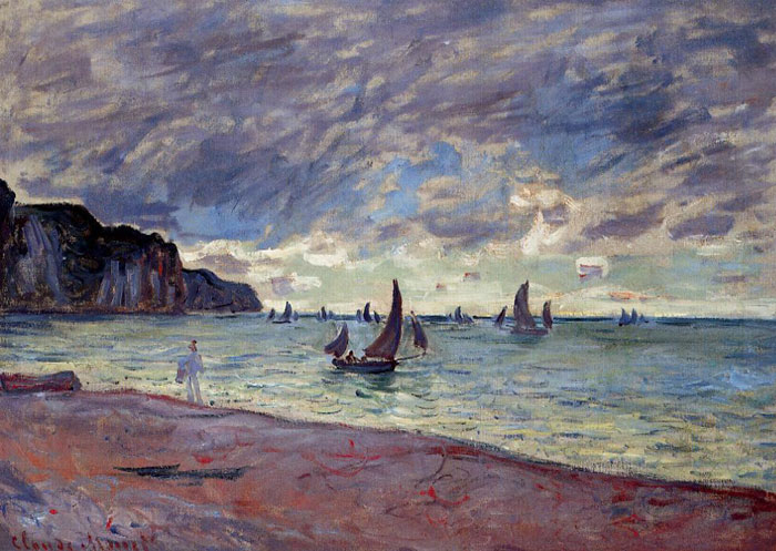 Claude Oscar Monet  Reproductions-Fishing Boats by the Beach and the Cliffs of Pourville, 1882
