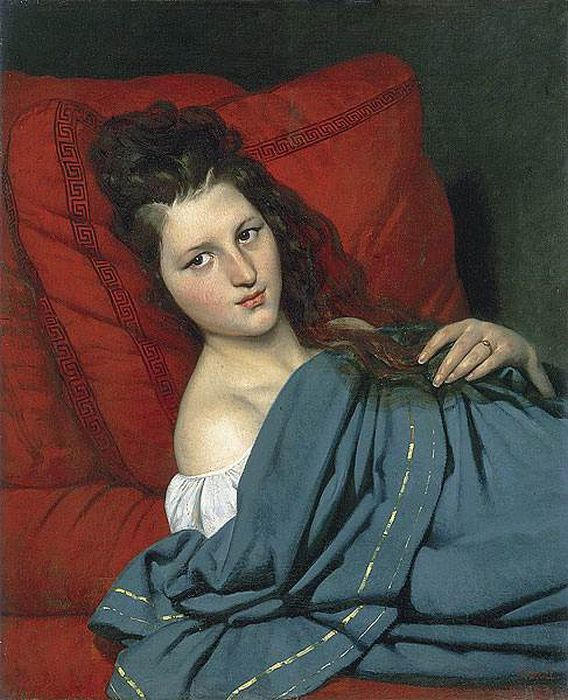 Joseph-Desire Court  Reproductions-Half-length Woman Lying on a Couch, 1829