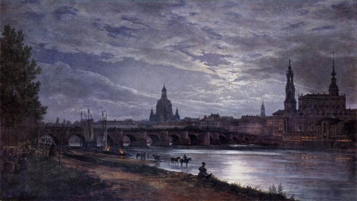 Johan Christian Clausen Dahl Reproductions-View of Dresden at Full Moon, 1839