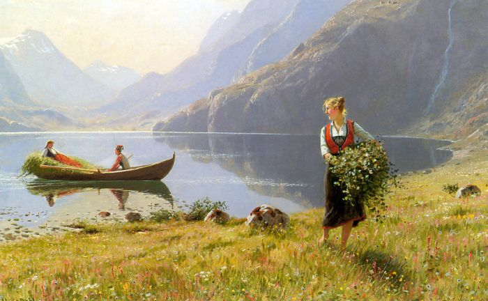 Hans Fredrik Dahl Reproductions-On The Banks of the Fjord