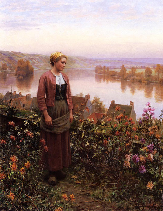 Paintings Reproductions Knight, Daniel Ridgway A Garden above the Seine, Rolleboise, c.1900