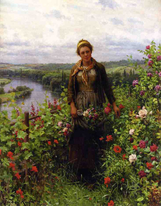 Paintings Reproductions Knight, Daniel Ridgway A Maid in Her Garden