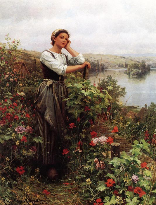 Paintings Reproductions Knight, Daniel Ridgway A Pensive Monent II