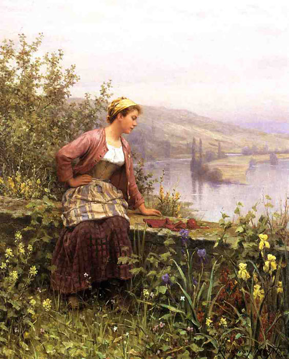 Paintings Reproductions Knight, Daniel Ridgway Brittany Girl Overlooking Stream