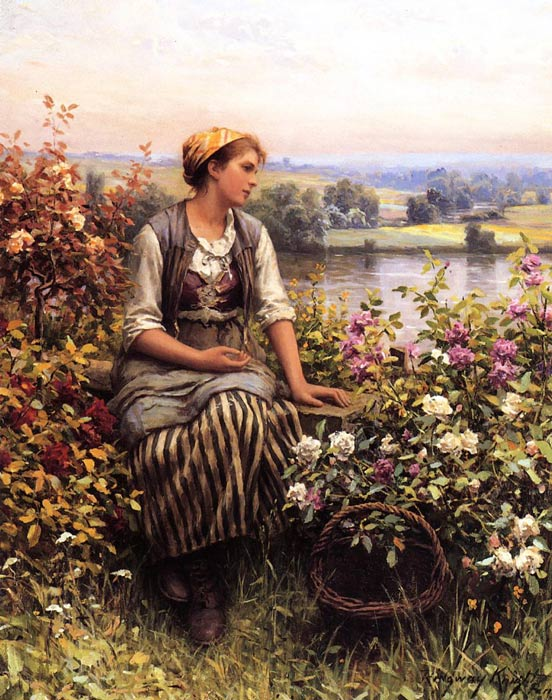 Daniel Ridgway Knight Reproductions-Daydreaming