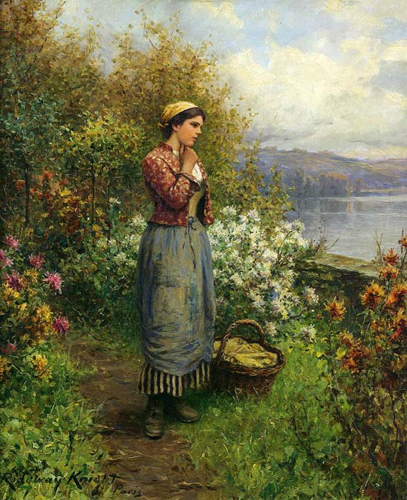 Daniel Ridgway Knight Reproductions-Julia on the Terrace, c.1909