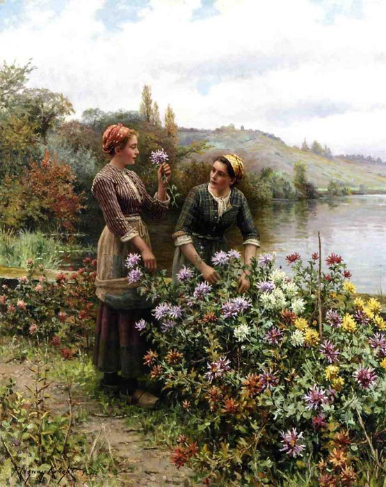 Daniel Ridgway Knight Reproductions-Peasant Girls in Flower Garden