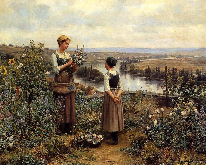 Daniel Ridgway Knight Reproductions-Picking Flowers