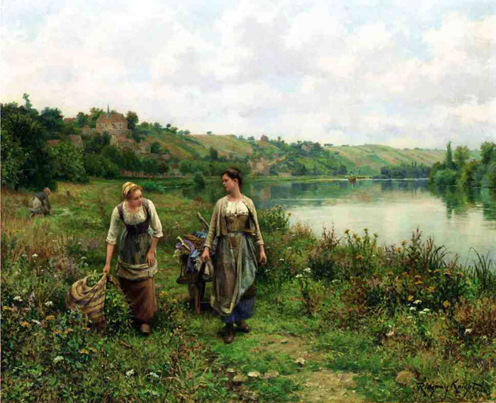 Paintings Reproductions Knight, Daniel Ridgway The Seine at Vernon