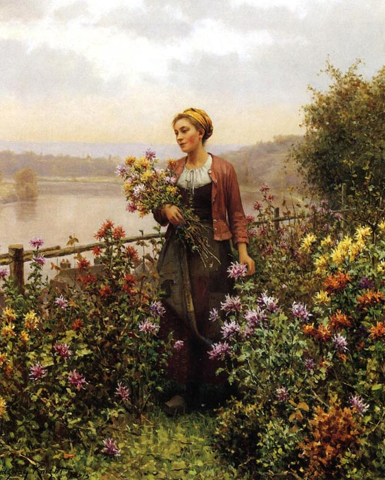 Paintings Reproductions Knight, Daniel Ridgway Woman in a Garden