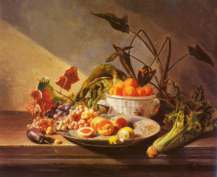 Paintings Reproductions Noter, David Emile Joseph de A Still Life With Fruit And Vegetables On A Table
