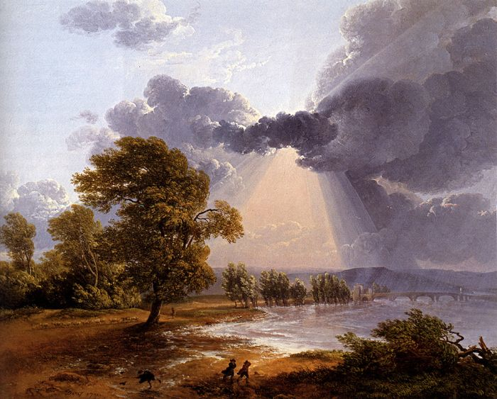 Paintings Reproductions Denis, Simon-Joseph-Alexandre-Clement A River Landscape With An Approaching Storm, Figures Running In The Foreground, 1791