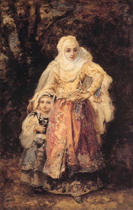 Paintings Reproductions Diaz de la Pena, Narcisse Oriental Woman and Her Daughter, 1865