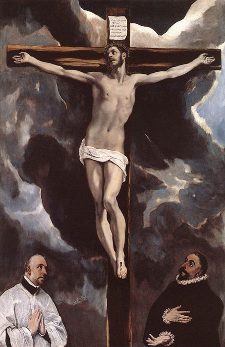 El Greco Reproductions-Christ on the Cross Adored by Donors , 1585-1590