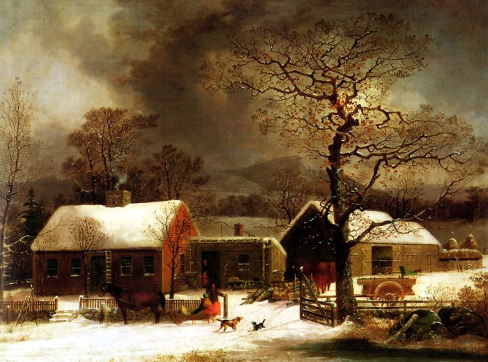 George Henry Durrie Reproductions- Winter Scene in New Haven , 1858