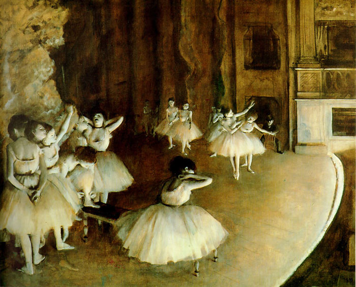 Edgar Degas Reproductions-Ballet Rehearsal on Stage, 1874