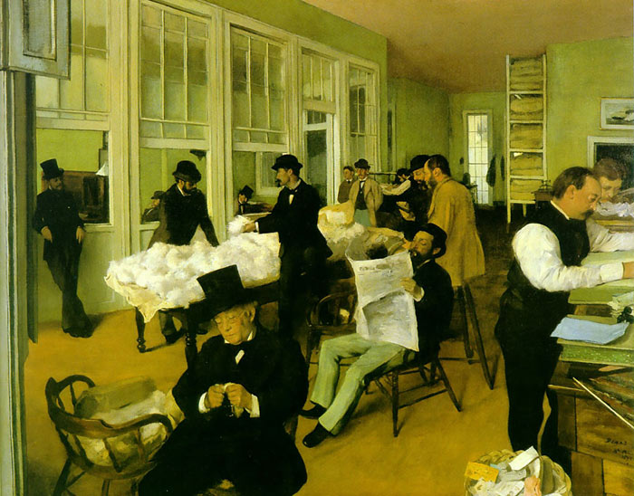 Edgar Degas Reproductions-Portrait in a New Orleans Cotton Office, 1873