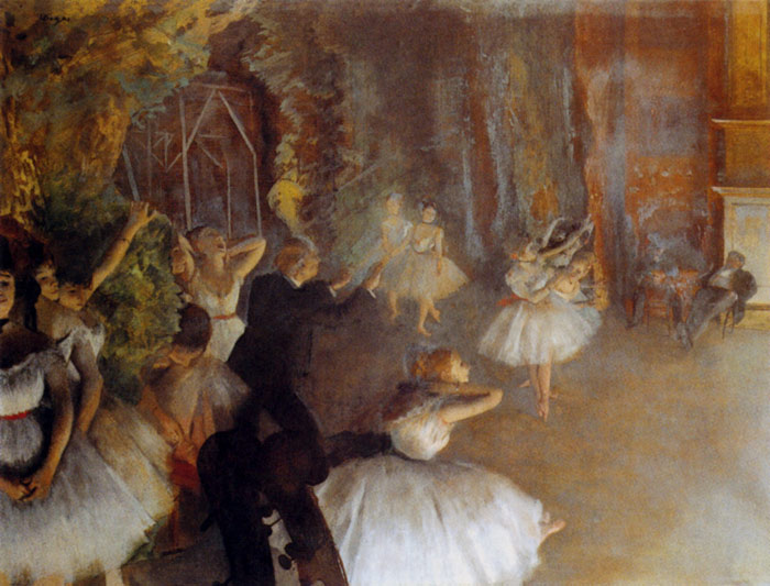 Edgar Degas Reproductions-The Rehearsal Of The Ballet Onstage, 1874