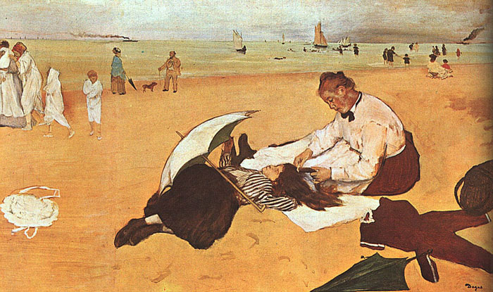 Edgar Degas Reproductions-At the Beach, 1874