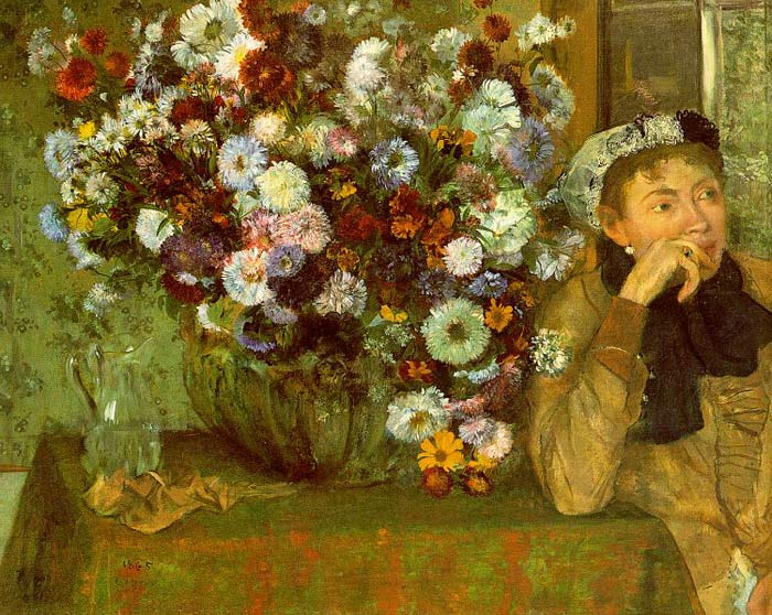 Edgar Degas Reproductions-Madame Valpin with Chrysanthemums, 1865