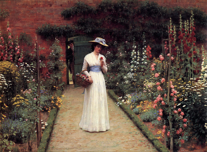 Paintings Reproductions Leighton, Edmund Blair Lady in a Garden
