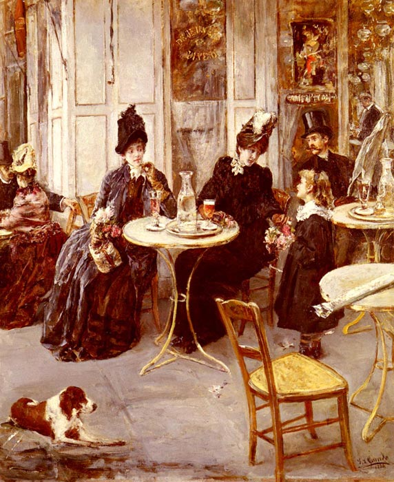 Paintings Reproductions Garrido, Eduardo Leon Au Cafe [At the Cafe], 1884