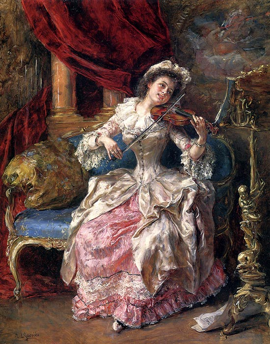 Paintings Reproductions Garrido, Eduardo Leon A Musical Afternoon