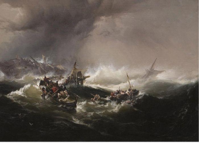 edward moran oil paintings shipwreck