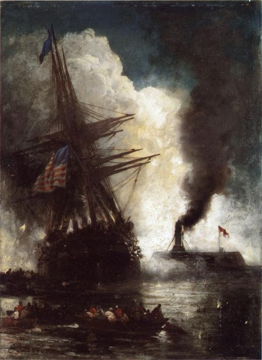 Edward Moran Reproductions-Battle Between Ironclad, Merrimac and Chesapeake