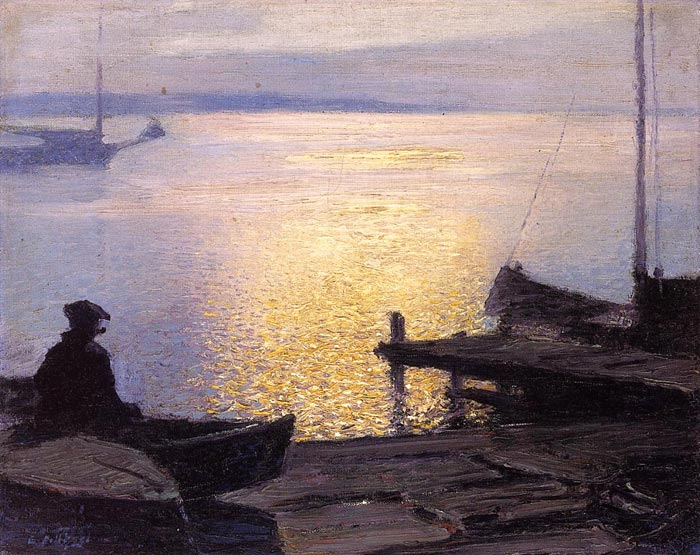 Edward Potthast  Reproductions-Along the Mystic River