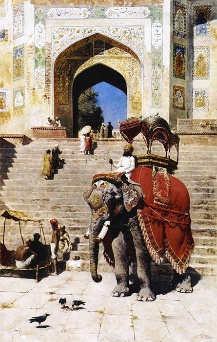 Edwin Lord Weeks Reproductions-Royal Elephant at the Gateway to the Jami Masjid, Mathura,.1895