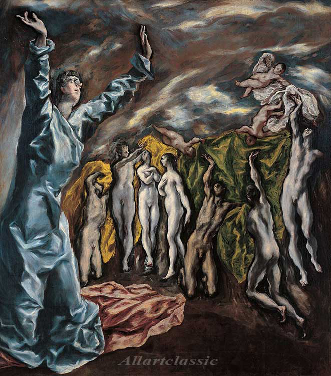 Paintings Reproductions El Greco, -Domenikos Theotokopolos The Opening of the Fifth Seal, 1608