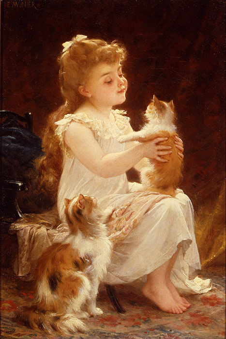 Paintings Reproductions Munier, Emile Playing with the Kitten, 1893