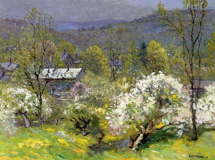 John J Enneking Reproductions-Apple Blossoms , 1914