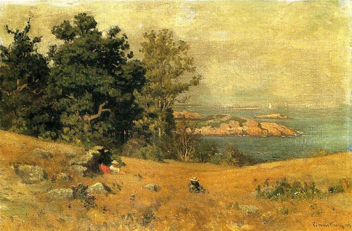John J Enneking Reproductions-Berrying at the Seashore , 1879
