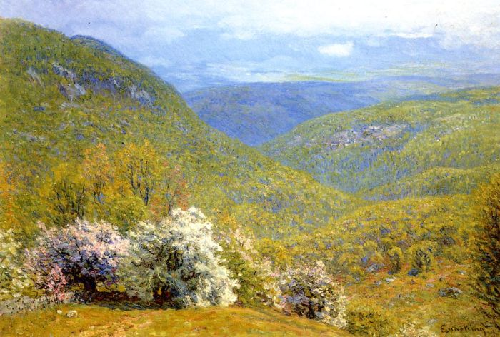 Spring Hillside Oil Painting Reproduction