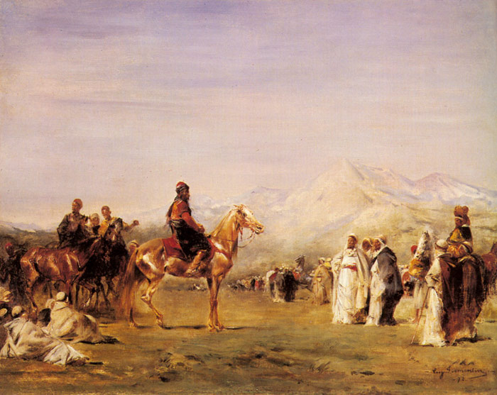 Painting by Fromentin- Arab Encampment in the Atlas Mountains