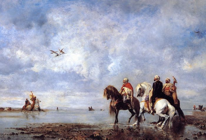 Paintings Reproductions Fromentin, Eugene The Heron Hunt, Algeria