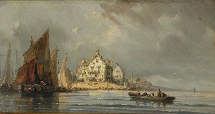 Paintings Reproductions Isabey, Eugene Coastal Landscape with Boats and Constructions