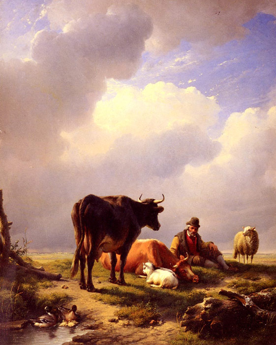 Eugene Joseph Verboeckhoven Reproductions-A Farmer At Rest With His Stock, 1844