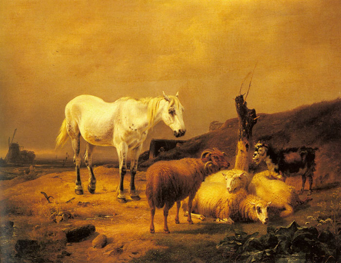 Eugene Joseph Verboeckhoven Reproductions-A Horse, Sheep and a Goat in a Landscape
