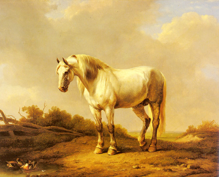 Eugene Joseph Verboeckhoven Reproductions-A White Stallion In A Landscape