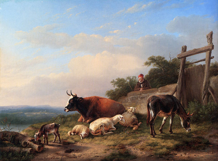 Paintings Reproductions Verboeckhoven, Eugene Joseph A Farmer Tending His Animals