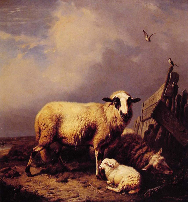 Eugene Joseph Verboeckhoven Reproductions-Guarding the Lamb, 1837