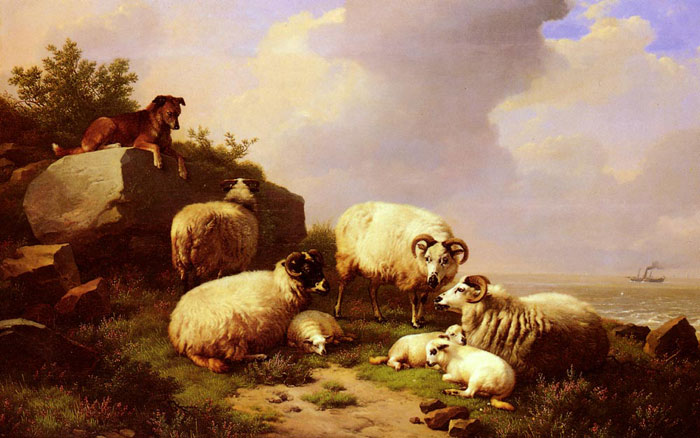 Eugene Joseph Verboeckhoven Reproductions-Guarding The Flock By The Coast, 1867