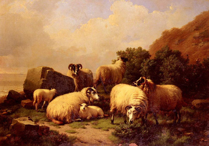 Eugene Joseph Verboeckhoven Reproductions-Sheep Grazing By The Coast