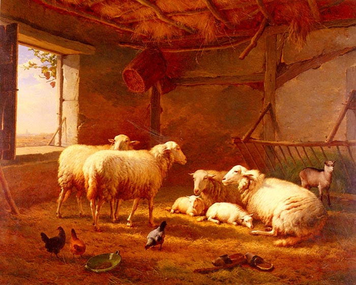 Eugene Joseph Verboeckhoven Reproductions-Sheep With Chickens And A Goat In A Barn, 1877