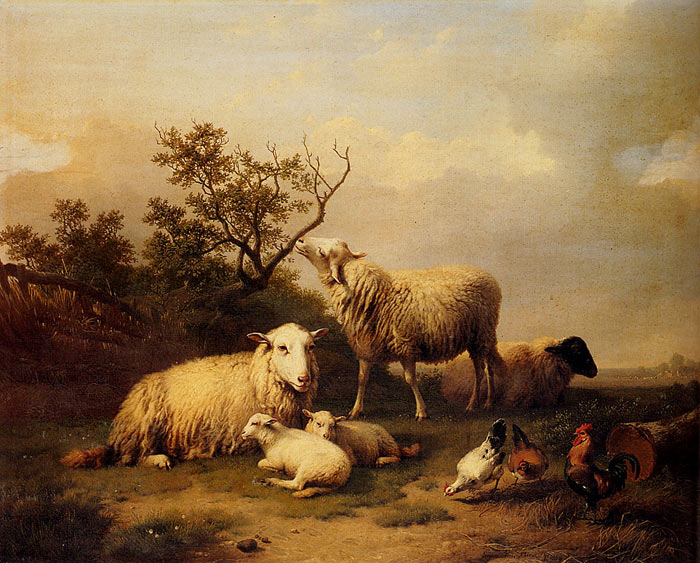 Eugene Joseph Verboeckhoven Reproductions-Sheep With Resting Lambs And Poultry In A Landscape, 1864