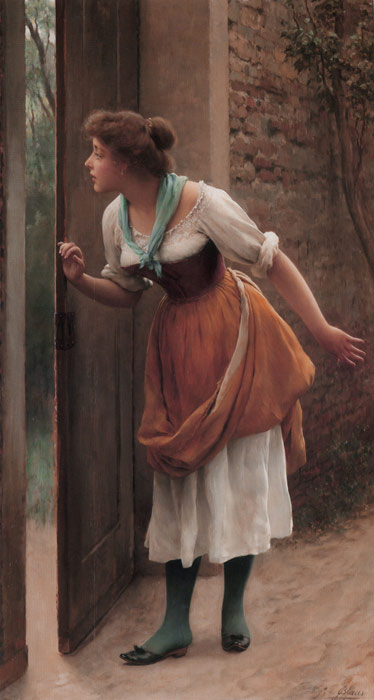 Paintings Reproductions Blaas, Eugene de  The Eavesdropper, 1906
